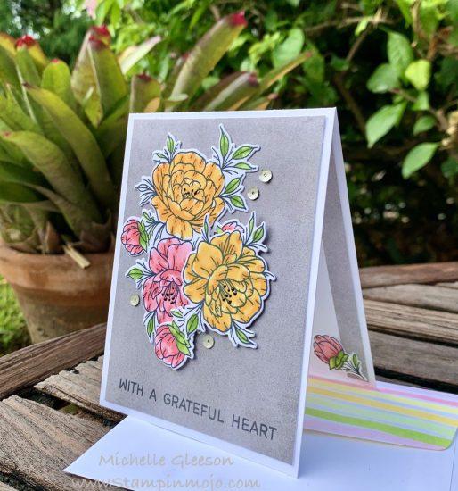 Neat Tangled Grateful Heart #FMS442 #TGIFC271 Thank you card idea Michelle Gleeson Stampinmojo
