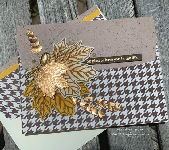 Stampin Up PALS August Blog Hop Gather Together Stamp Set Gilded Autumn DSP Gathered Leaves Dies Anytime Card idea Michelle Gleeson Stampinup SU