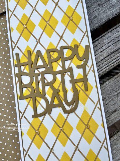 Mama Elephant Happy Birthday Die PinkFresh Studios Argyle Slim Stencil Distress Oxide ink SU Baked Brown Sugar Michelle Gleeson Masculine Birthday Card Ideas