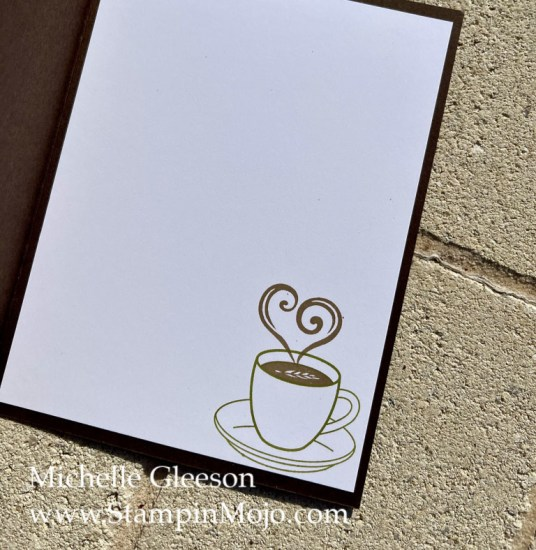 Coffee Lovers Card inside peek Michelle Gleeson Design by Jeanie Stark