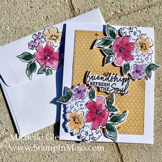 Stampin Up Sneak Peek Hand-Penned Petals Pansy Petals DSP Friendship Card Idea Michelle Gleeson Stampinup SU