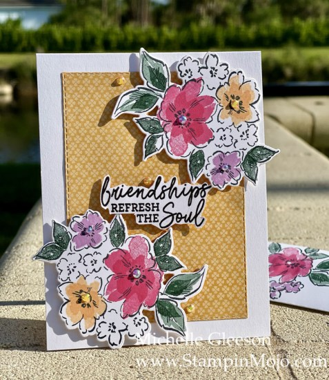 Stampin Up Sneak Peek Hand-Penned Petals Pansy Petals DSP Friendship Card Ideas Michelle Gleeson Stampinup SU