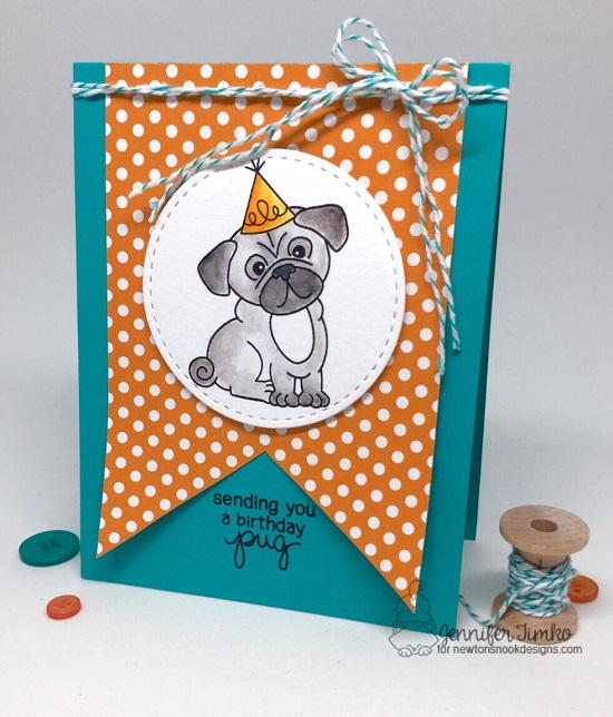 Birthday Pug by Jen Timko | Pug Hugs Stamp Set by Newton's Nook Designs #newtonsnook