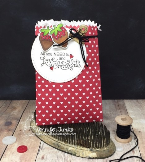 Love & Chocolate Treat Bag by Jen Timko | Love & Chocolate Stamp Set by Newton's Nook Designs, Copic Coloring