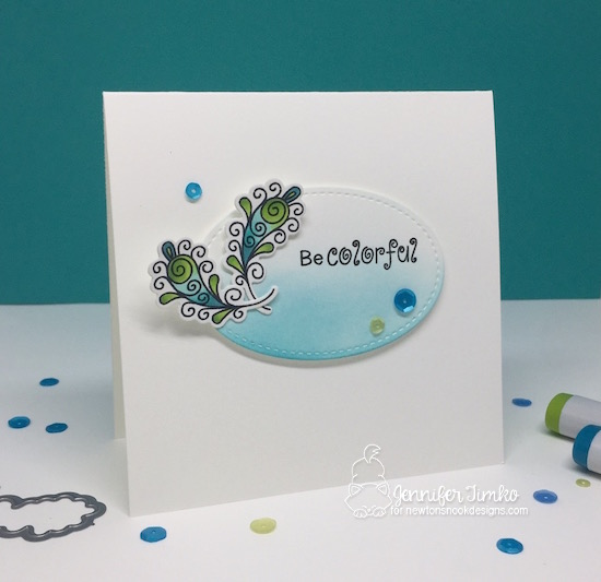 Be Colorful by Jen Timko | Beautiful Plumage Stamp and Dies by Newton's Nook Designs, Copic Coloring, Distress Ink, Stitched Shapes Dies by Stampin' Up