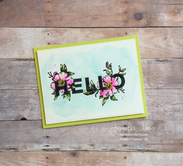 Fancy Friday - Hello by Jen Timko | Floral Statements Stamp Set by Stampin' Up, Watercolor, Zig Clean Color Markers