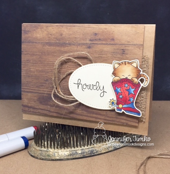 Howdy by Jen Timko | Newton Rides West Stamp Set and Dies by Newton's Nook Designs, Copic Coloring