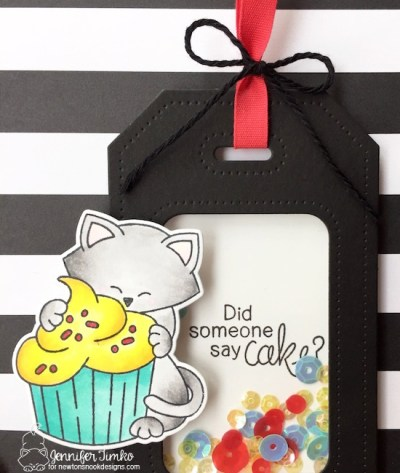 Cake Tag Closeup by Jen Timko | Newton Loves Cake Stamp and Dies by Newton's Nook Designs, Dotted Shaker Tag by Studio Katia