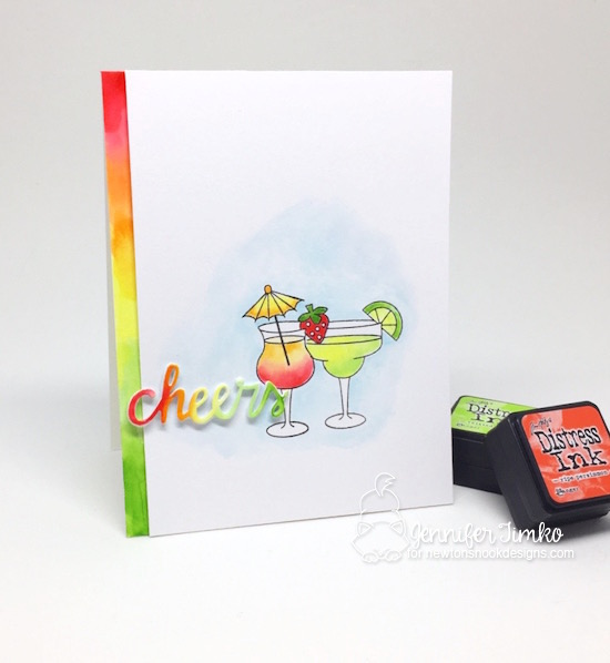 Cheers by Jen Timko | Cocktail Mixer Stamp by Newton's Nook Designs, Tim Holtz Distress Inks