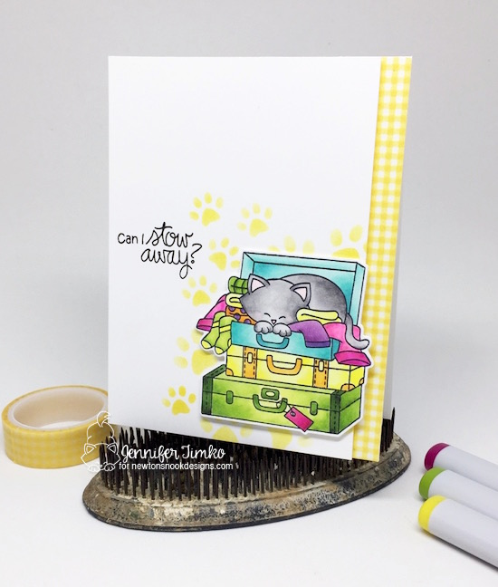 Can I Stow Away by Jen Timko | Stowaway Newton Stamps and Dies by Newton's Nook Designs, Copic Coloring, Pawprints Stencil by Newton's Nook Designs