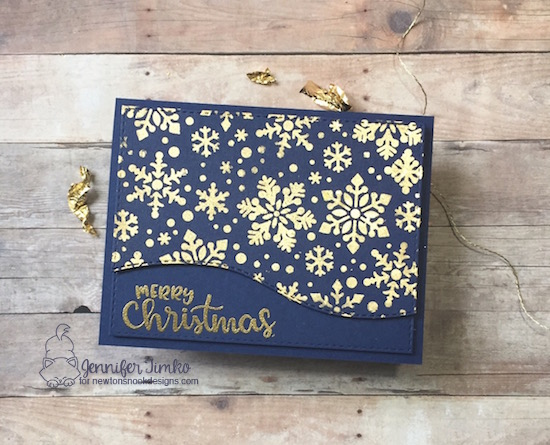 Merry Christmas by Jen Timko | Sentiments of the Season Stamp Set by Newton's Nook Designs, Snowfall Stencil by Newton's Nook Designs, Nuvo Gilding Flakes, Tombow Multipurpose Glue, Gilding Tutorial