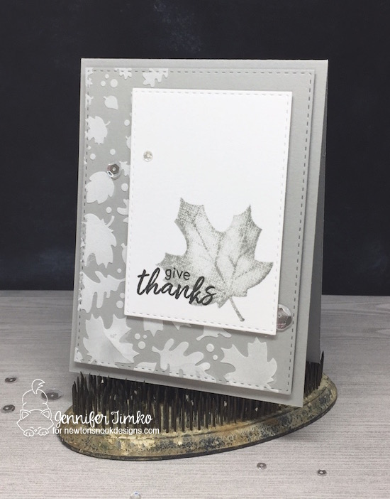 Autumn in Gray by Jen Timko | Shades of Autumn Stamp by Newton's Nook Designs, Falling Leaves Stencil by Newton's Nook Designs