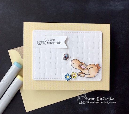 Ear-resistable by Jen Timko | Bitty Bunnies Stamp Set and Dies by Newton's Nook Designs, Frames and Flags Dies by Newton's Nook Designs, Basket Weave Embossing Folder by Stampin' Up
