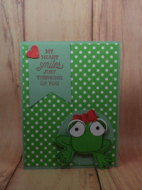 Pamela Sadler This adorable frog is sitting on his pad thinking of you.#Stampin'Up!PlayfulPals#frog#thinkingofyou