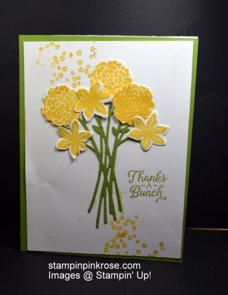 Stampin' Up! Thank You card made with Beautiful Bouquet stamp set and designed by Demo Pamela Sadler. Erfect card for any occasion. A See more cards at stampinkrose.com #stampinkpinkrose #etsycardstrulyheart