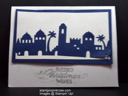 Stampin' Up! Christmas card with Night in Bethlehem stamp set and designed by Demo Pamela Sadler. Make the journey to Bethlehem.. See more cards at stampinkrose.com and etsycardstrulyheart