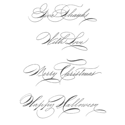 Hand penned holidays rubber stamps stampin up