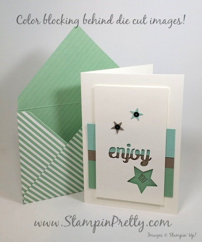Stampin Up star punch birthday card idea Mary Fish StampinUp demonstrator blog Stampin Pretty envelope punch board