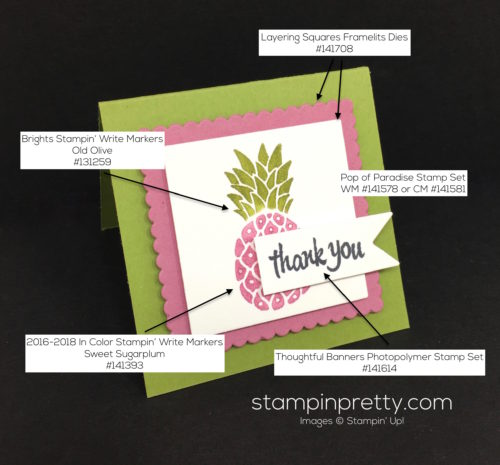 Stampin Up Pop of Paradise Thank You Card Idea - Mary Fish StampinUp Supply List