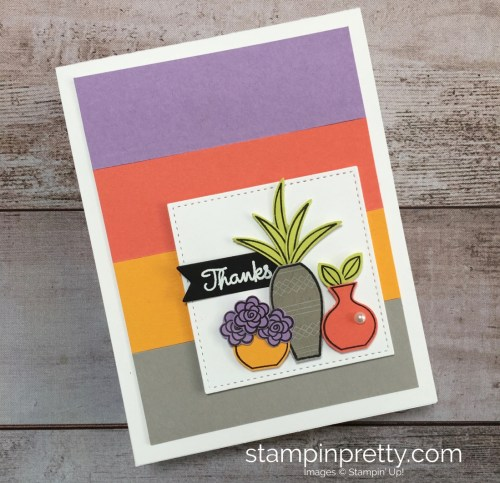 Create a simple thank you card with succulents using Stampin Up Varied Vases Stamp Set and Vase Builder Punch - Mary Fish StampinUp