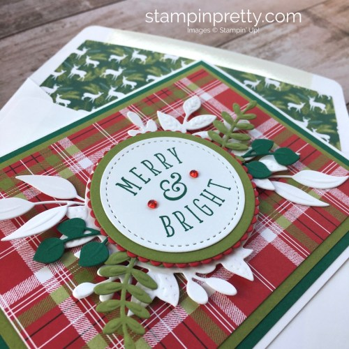 Create a holiday card using Stampin Up Foliage Frame Thinlits Dies - Mary Fish StampinUp