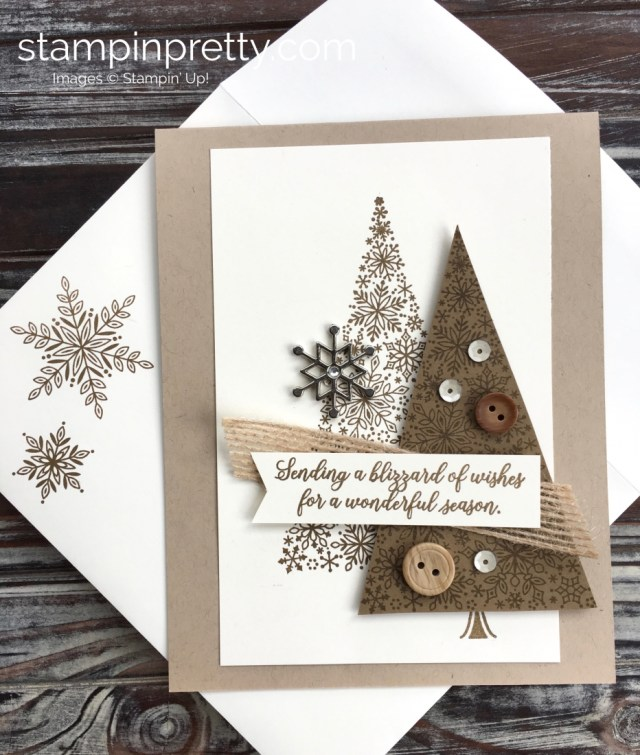Create a holiday Christmas card using Stampin Up Blizzard of Wishes - Mary Fish StampinUp Idea