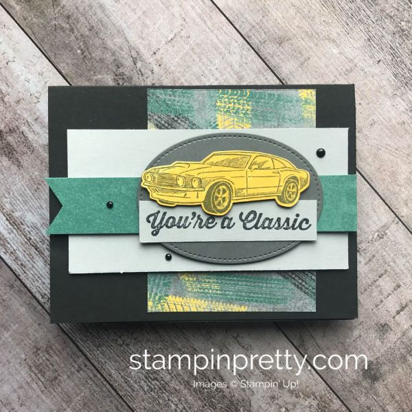 Learn How to Create this Masculine Card using the Geared Up Garage Bundle by Stampin'Up! Mary Fish, Stampin' Pretty