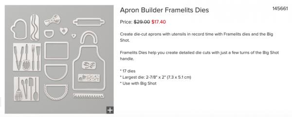 Apron Builder Framelits Dies