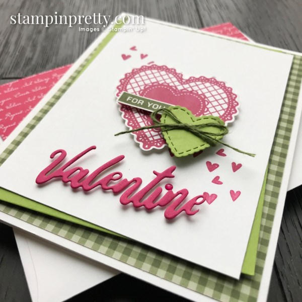 For You From Me Valentine Card - Granny Apple Green, Lovely Lipstick, Mossy Meadow Card by Mary Fish, Stampin' Pretty