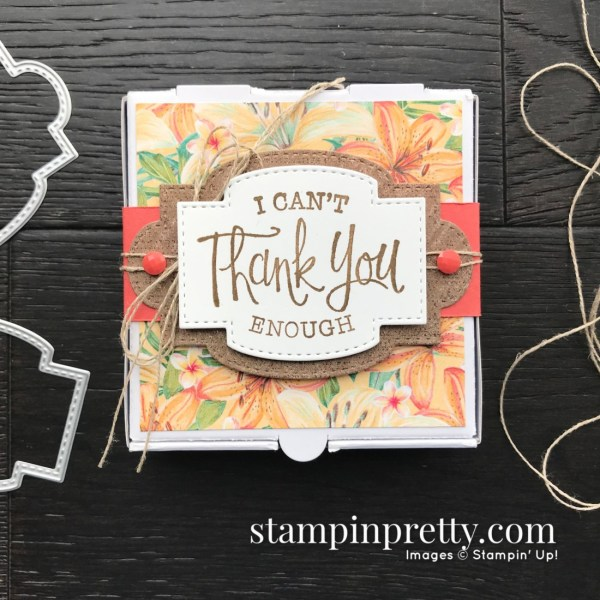 Tropical Oasis Designer Series Paper & So Sentimental Bundle from Stampin' UP! Mini Pizza Box by Mary Fish, Stampin' Pretty