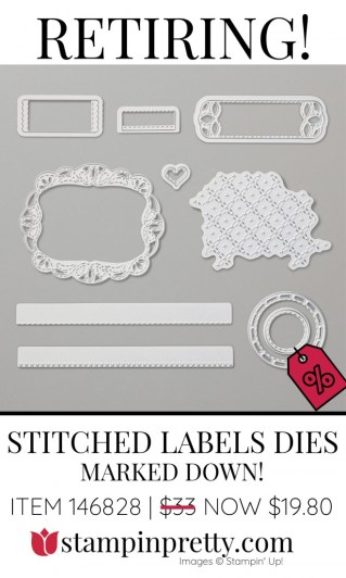 Retiring Stitched Labels Dies Stampin' Up! Marked Down