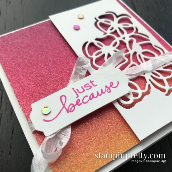 Rainbow Glimmer Paper from Stampin' Up! 4x4 Just Because Card by Mary Fish, Stampin' Pretty Sketchbook #10 (1)
