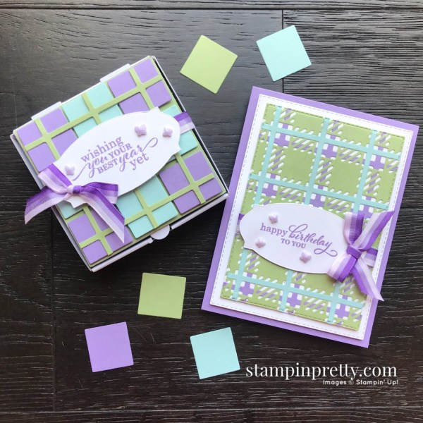 Create this Mini Pizza Box with Scraps from the Best Year Bundle Best Plaid Builder from Stampin' Up! Mary Fish, Stampin' Pretty