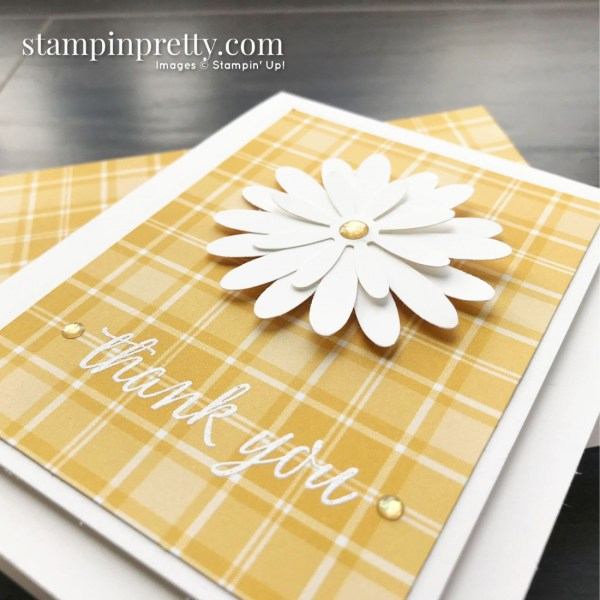 Create this simple thank you card using the Plaid Tidings Designer Series Paper and Daisy Punches from Stampin' Up! Card by Mary Fish, Stampin' Pretty
