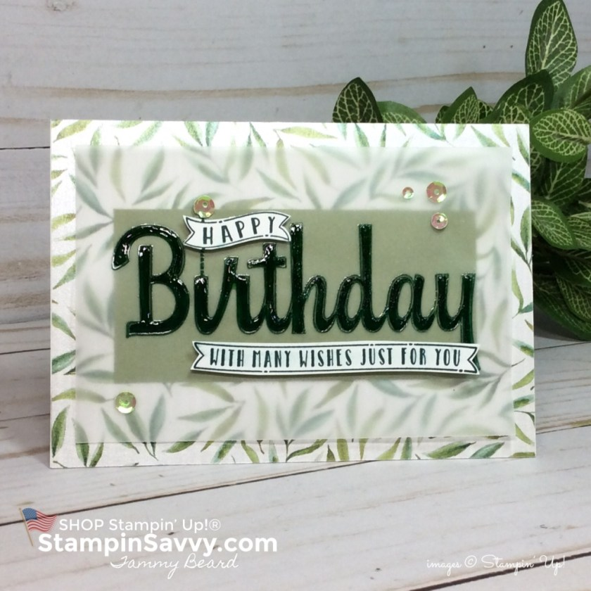 frosted floral card, masculine birthday card, frosted floral dsp, birthday wishes for you, stampin up, stampinup, stampin savvy, tammy beard