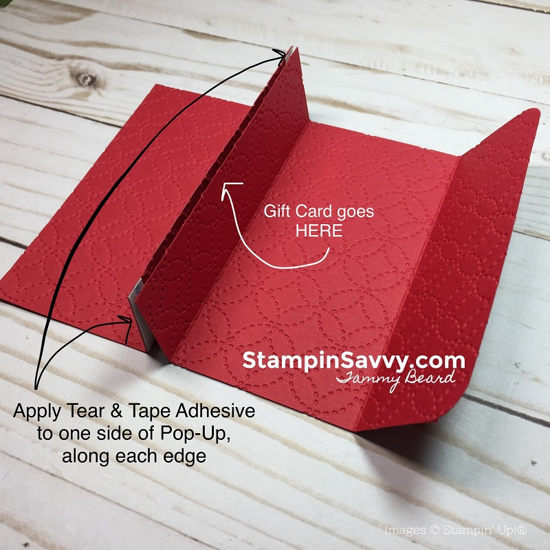 pop up gift card holder, tutorial step 2, nothing sweeter, stampin up, stampin savvy, tammy beard