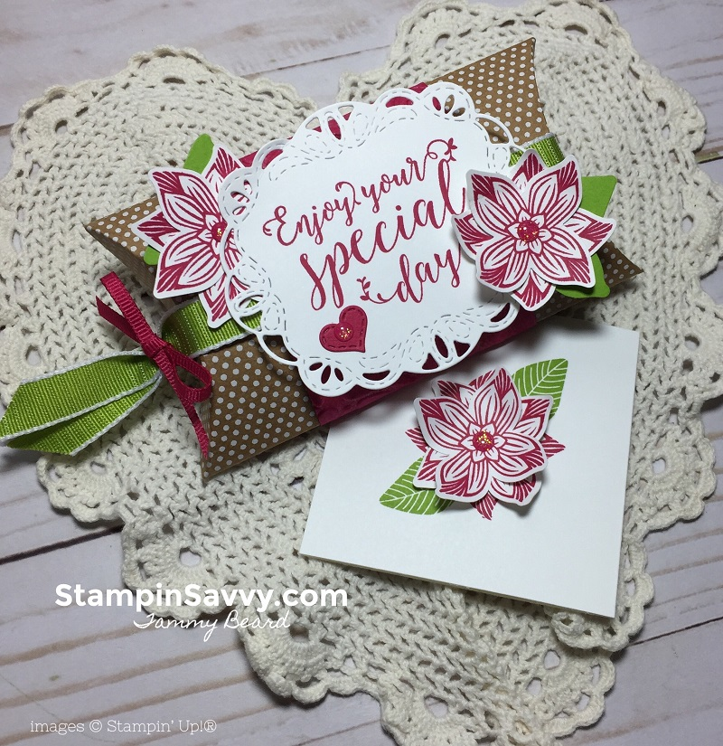 creative ways to present gift cards, pop of petals, stitched all around, kraft pillow box, stampin up, stampinup, stampin savvy, tammy beard