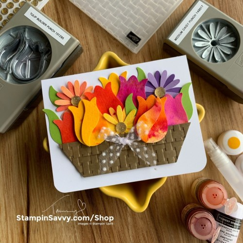 SPRING BASKET OF BLOOMS CARD TAMMY BEARD STAMMPIN SAVVY