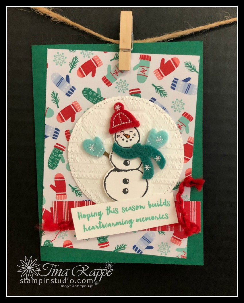 Stampin' Up! Let it Snow Suite, Snowman Season stamp set, Snowman Builder Punch, Stampin' Sisters Holiday Hoopla, Stampin' Studio