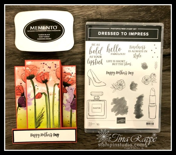 Stampin' Up! Peaceful Poppies DSP, Fun Fold Card, Mothers Day, Stampin' Studio