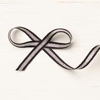 Black/Silver 1/4 (6.4 Mm) Striped Metallic Ribbon