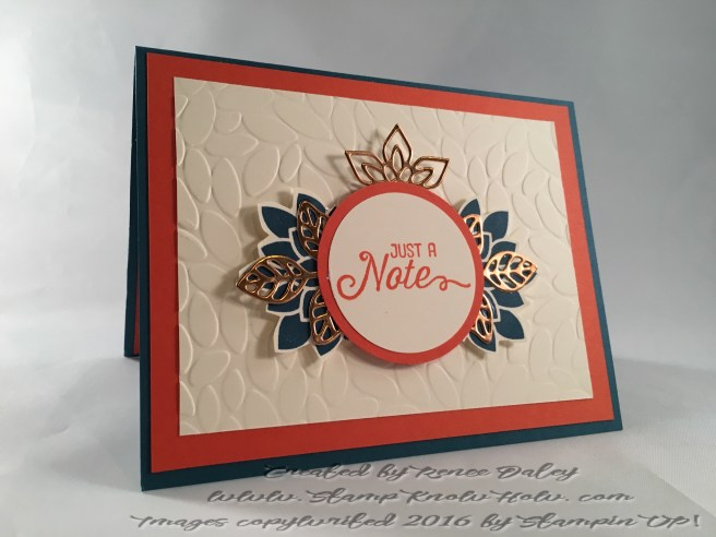 Image of notecard featuring Flourish thinlit in copper foil