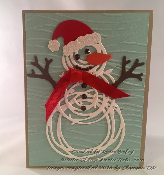 Swirly snowman with Santa hat