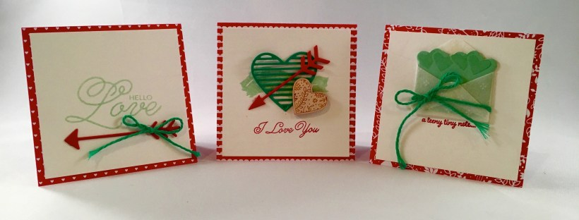Image features 3 notecards with Valentine sentiments