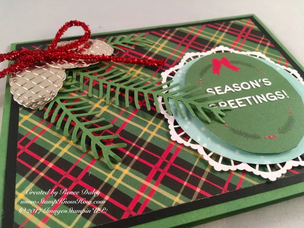 Close up of Pretty Pines Christmas Card