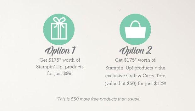 Starter kit options for Stampin' Up