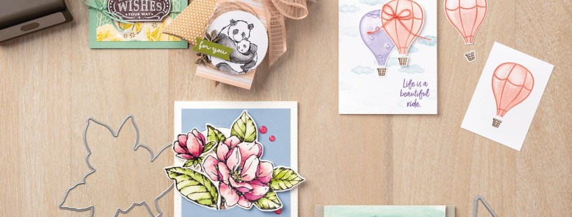 Samples from Stampin' Up's new annual catalog for 2019-2020