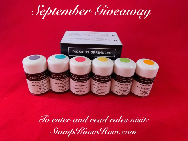 Pigment Sprinkles by Stampin' Up are the giveaway for September 2019 on the StampKnowHow blog.  Enter to win today.