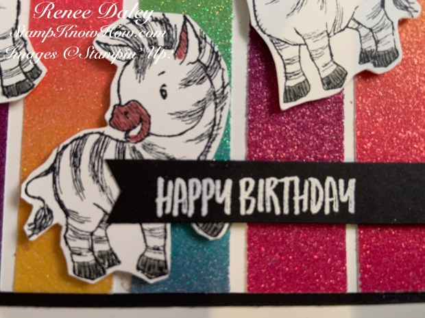 Close up image of the Zany Zebras Birthday Card