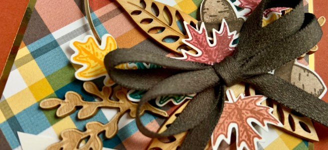 Closeup image of the wreath in the Beautiful Autumn Thank You Card